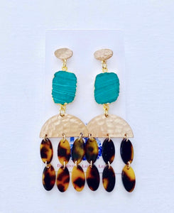 Green Malachite & Tortoise Chandelier Statement Earrings - Ginger jar
