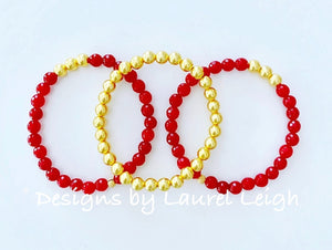 Dainty Red Gemstone & Gold Beaded Bracelet - Singles or Stack - Ginger jar