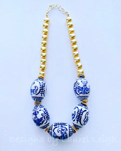 Blue and White Chinoiserie Chunky Gold Statement Necklace - Ginger jar