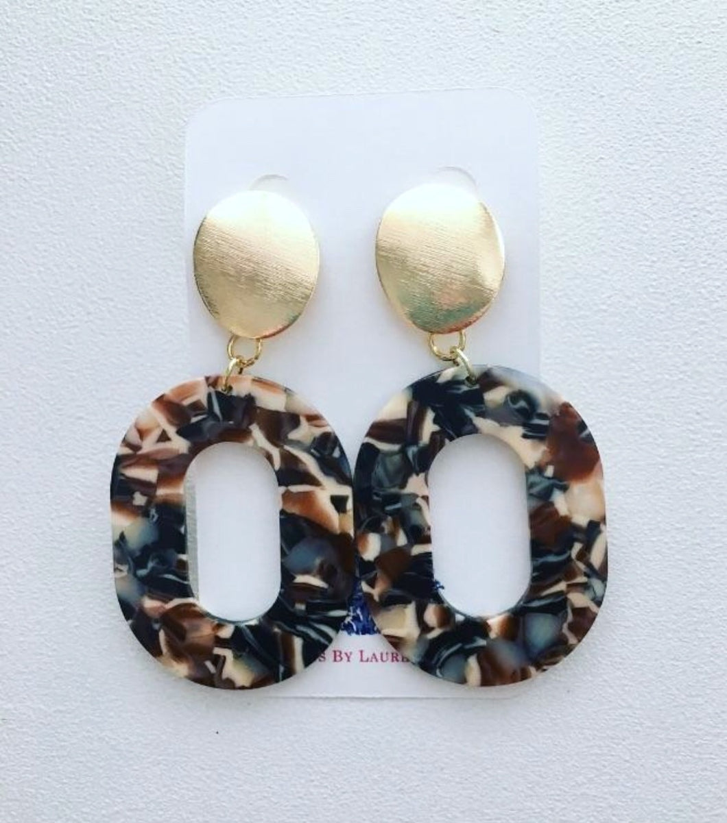 Tortoise Shell Earrings - Brown, Gray, Black, Ivory - Ginger jar