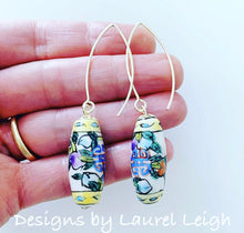 Load image into Gallery viewer, Chinoiserie Vintage Barrel Bead Earrings - Multicolored - Ginger jar