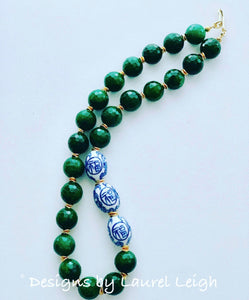 Chinoiserie Statement Necklace - Chunky Green Jade - Ginger jar