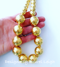 Load image into Gallery viewer, Chunky Hammered Gold Graduated Bead Statement Necklace - Ginger jar