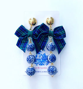 Chinoiserie Beaded Drop Earrings with Tartan Plaid Bows