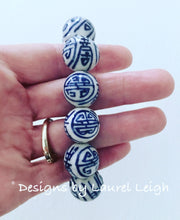 Load image into Gallery viewer, Blue and White Chinoiserie Chunky Longevity Symbol Beaded Statement Bracelet - Two Designs - Ginger jar