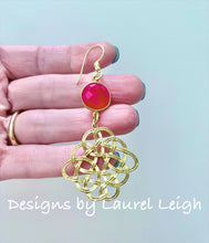 Load image into Gallery viewer, Hot Pink Gemstone Gold Knot Earrings - Ginger jar