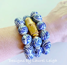 Load image into Gallery viewer, Chunky Blue and White Chinoiserie Bamboo Statement Bracelet