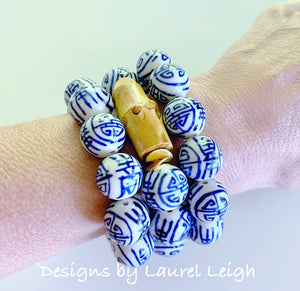 Chunky Blue and White Chinoiserie Bamboo Statement Bracelet