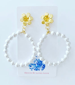 Gold Floral & White Cotton Pearl Hoop Earrings - Ginger jar