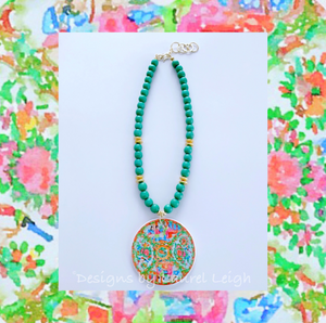 Rose Medallion Chinoiserie Pendant Necklace - Green - Ginger jar