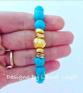Turquoise and Gold Beaded Bracelet - Designs by Laurel Leigh