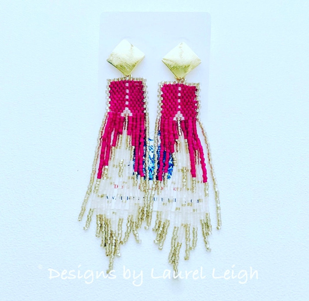 Dressy Multicolor Seed Bead Fringe Post Earrings - Ginger jar