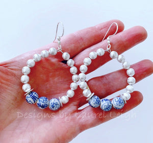 Chinoiserie Beaded Hoops - Silver - Ginger jar