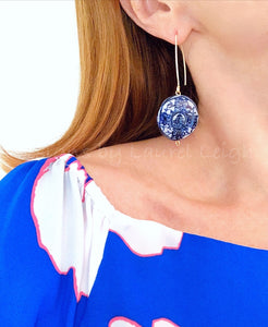 Chinoiserie Blue & White Coin Drop Earrings - Ginger jar