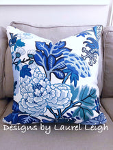 Load image into Gallery viewer, Designer Fabric Pillow Cover - Schumacher Chiang Mai Dragon - China Blue - Ginger jar
