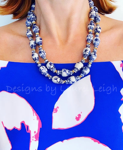 Chunky Blue & White Double Strand Statement Necklace - Ginger Jar Beads - Ginger jar