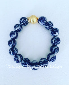 Blue and White Chinoiserie Beaded Bracelet - Chinese Symbol Pattern w/ Gold - Ginger jar