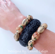 Load image into Gallery viewer, Chinoiserie Dragon Cinnabar Bangle Bracelet - Ivory or Black