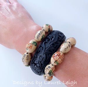 Chinoiserie Dragon Cinnabar Bangle Bracelet - Ivory or Black