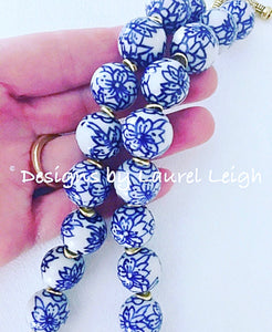 Blue and White Chinoiserie Floral Statement Necklace - Designs by Laurel Leigh