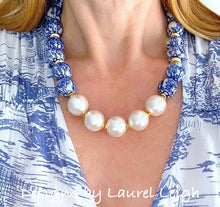 Load image into Gallery viewer, Chunky Blue and White Chinoiserie Jumbo Pearl Floral Statement Necklace - Ginger jar