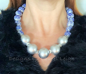 Blue and White Chinoiserie with Jumbo Pearl Chunky Statement Necklace - Silver - Designs by Laurel Leigh