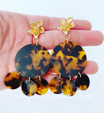 Load image into Gallery viewer, Tortoise Shell & Dogwood Blossom Statement Earrings - 3 Styles - Designs by Laurel Leigh