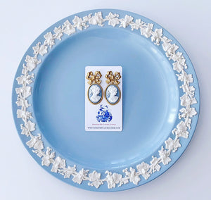 Wedgwood Blue and White Cameo Earrings - 6 Styles