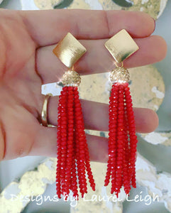 Red and Gold Tassel Statement Earrings - Designs by Laurel Leigh
