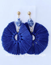 Load image into Gallery viewer, Fan Tassel Earrings - Chinoiserie Navy - Ginger jar