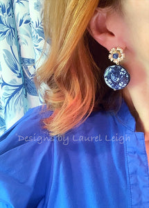 Blue and White Chinoiserie Coin Earrings with Gold Floral Posts