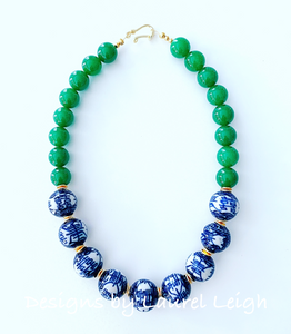 Chunky Green Jade Chinoiserie Double Happiness Statement Necklace