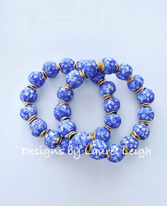 Blue and White African Glass Statement Bracelet - Ginger jar