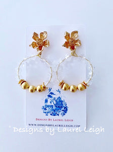 Crystal & Gold Dogwood Blossom Post Hoop Earrings - Ginger jar