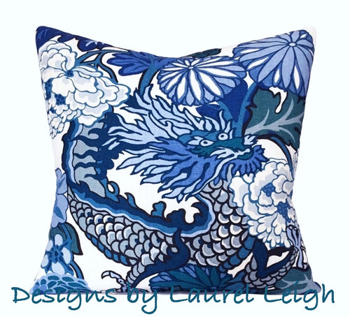 Designer Fabric Pillow Cover - Schumacher Chiang Mai Dragon - China Blue - Ginger jar