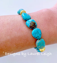 Load image into Gallery viewer, Turquoise (Genuine) Nugget and Gold Beaded Bracelet - Ginger jar