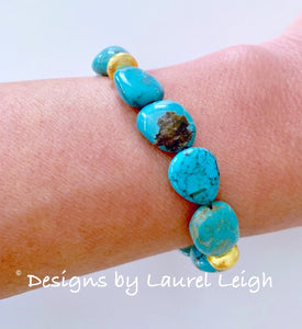 Turquoise (Genuine) Nugget and Gold Beaded Bracelet - Ginger jar