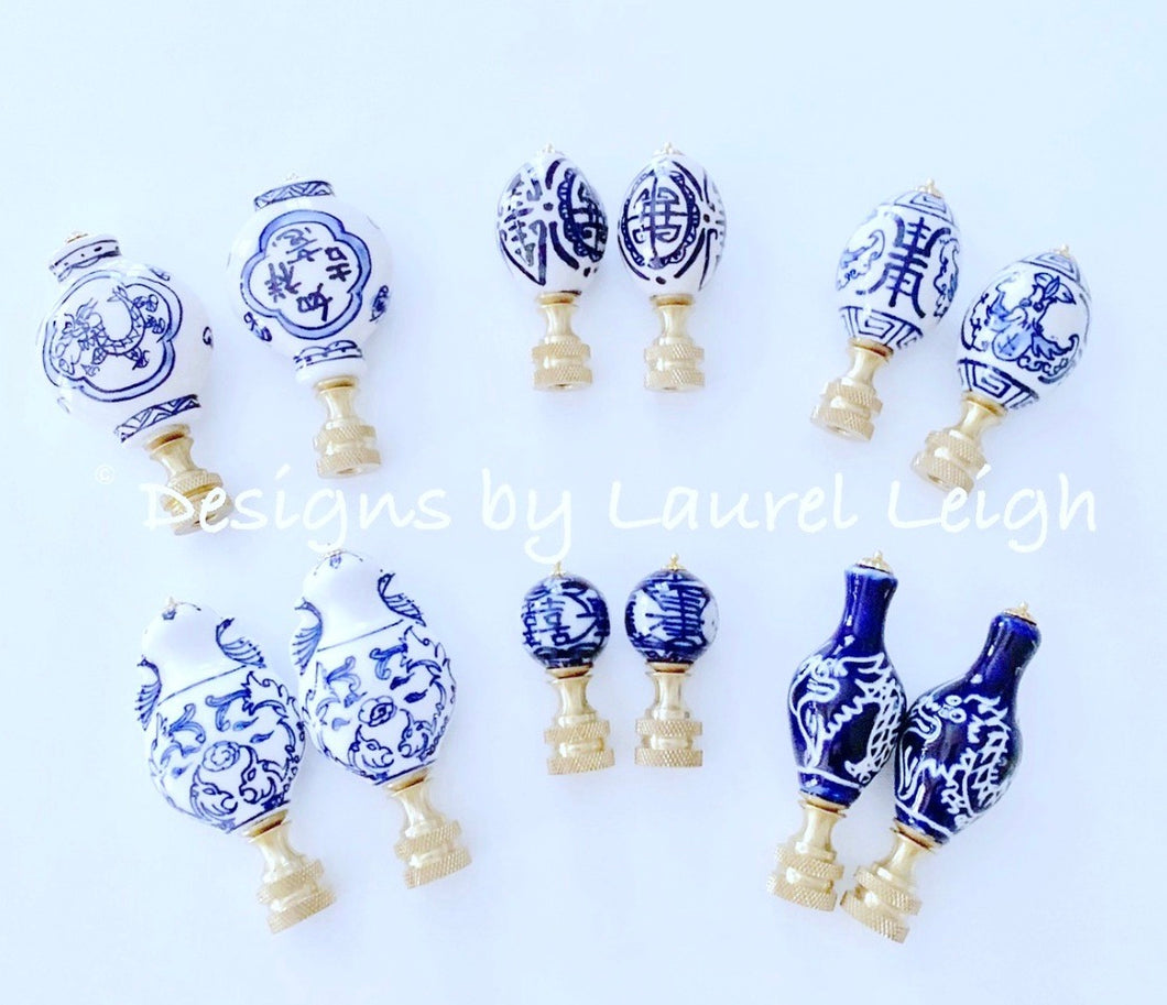 Blue and White Chinoiserie Lamp Finials - Ginger jar