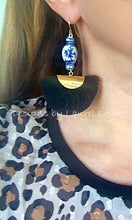Load image into Gallery viewer, Chinoiserie Ginger Jar Fan Tassel Earrings - Black - Ginger jar