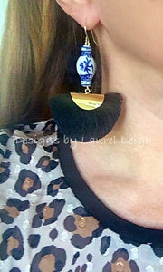 Chinoiserie Ginger Jar Fan Tassel Earrings - Black - Ginger jar