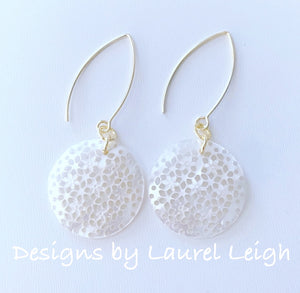 Mother of Pearl Floral Earrings - White & Gold - Ginger jar