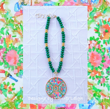 Load image into Gallery viewer, Rose Medallion Chinoiserie Pendant Necklace - Green Jade - Ginger jar