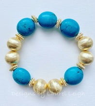 Load image into Gallery viewer, Turquoise and Gold Chunky Beaded Bracelet - Ginger jar