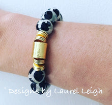 Load image into Gallery viewer, Black and White Tibetan Agate Gemstone Statement Bracelet - Ginger jar