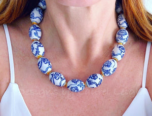 Blue and White Chinoiserie Chunky Statement Necklace - Adjustable - Ginger jar