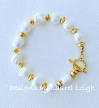 Load image into Gallery viewer, Baroque Freshwater Pearl and Gold Statement Bracelet - Ginger jar