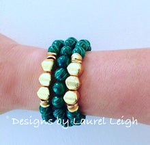 Load image into Gallery viewer, Green Malachite and Gold Beaded Bracelet - Ginger jar