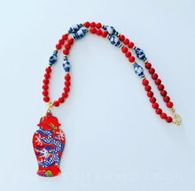 Load image into Gallery viewer, Blue and White Chinoiserie Dragon Ginger Jar Pendant Statement Necklace - Red or Blue - Ginger jar