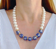 Load image into Gallery viewer, Blue and White Chinoiserie Pearl Chunky Statement Necklace - Ginger jar