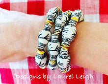 Load image into Gallery viewer, Chinoiserie Ginger Jar Beaded Bracelet - Black & White